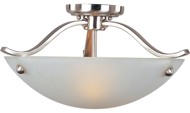 Contour 2-Light Semi-Flush Mounts, Satin Nickel.