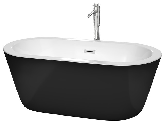 "Mermaid 60"" Freestanding Black Bathtub, Polished Chrome Tub Filler & Trim Kit"