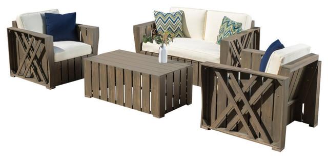 GDF Studio 4-Piece Calade Outdoor Acacia Wood Chat, Cushions Set