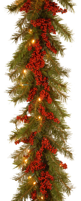 9 Ft. Decorative Collection Valley Pine Garland, Warm White Led Lights.