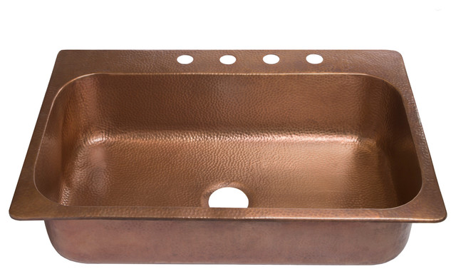 """Angelico Drop-In Handmade Copper 33"""" 4-Hole Single Bowl Copper Kitchen Sink"""