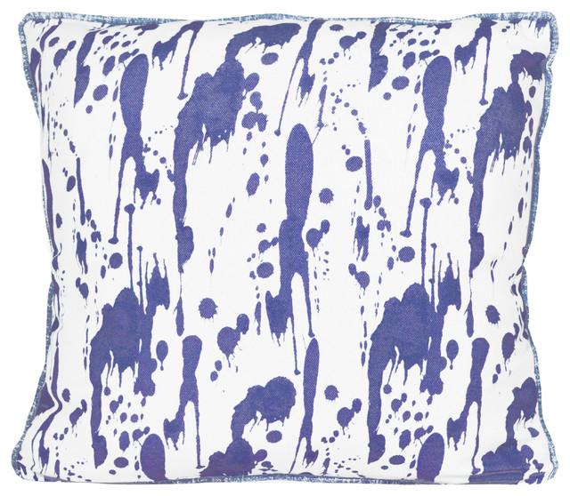 Splatter Cushion, Ink Blue