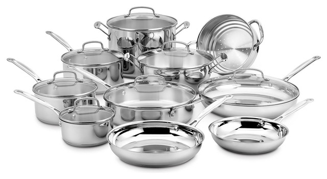Chef&x27;s Classic Stainless 17-Piece Cookware Set. -1