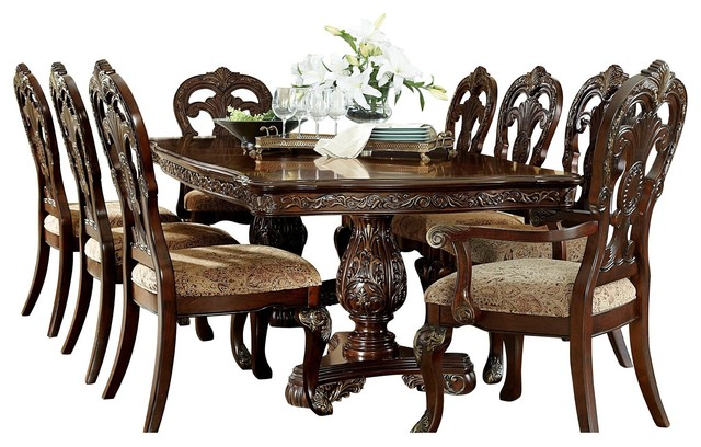 10 Piece Debroux Dining Set Table 2 Arm 6 Side Chair Buffet And Hutch Cherry Victorian Dining Sets By Amoc
