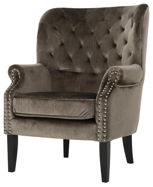 Superieur Tommen Tufted Back New Velvet Club Chair, Gray