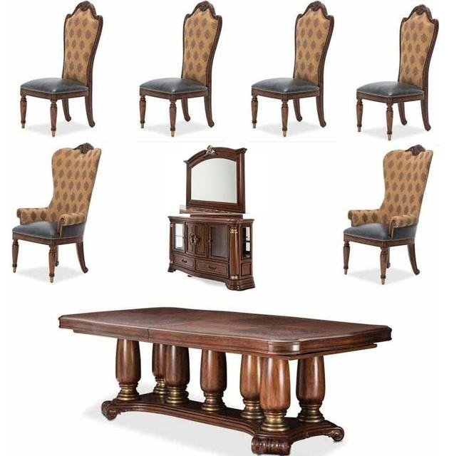 Neo Renaissance 9 Piece Traditional Dining: Grand Masterpiece 9-Piece Pedestal Dining Room Set