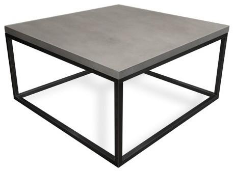 Cube Concrete Coffee Table White Linen 36x36