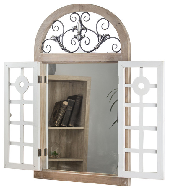 Cathedral Arch Window Shutter Wall Vanity Mirror