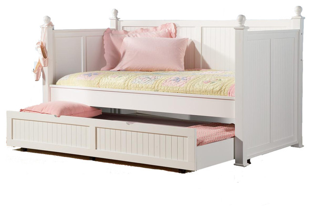 Classic Poster Wood Twin Daybed Posts BeadBoard Arm Trundle Day Bed, White