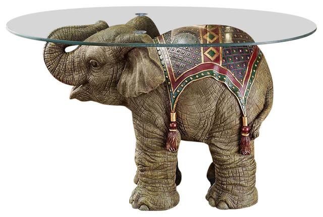 Jaipur Elephant Festival Glass Topped Cocktail Table