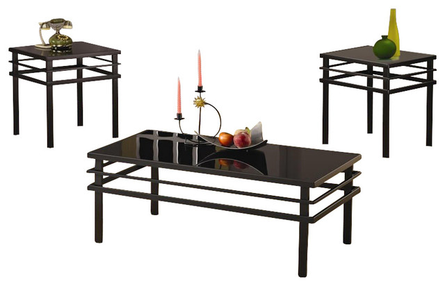 Coaster 3 Piece Occasional Table Sets Modern Coffee And End Table Set In Black Modern