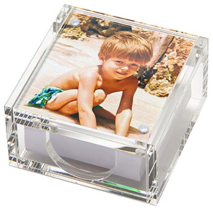 Lucite Sticky Note Holder Photo Box Modern Desk Accessories