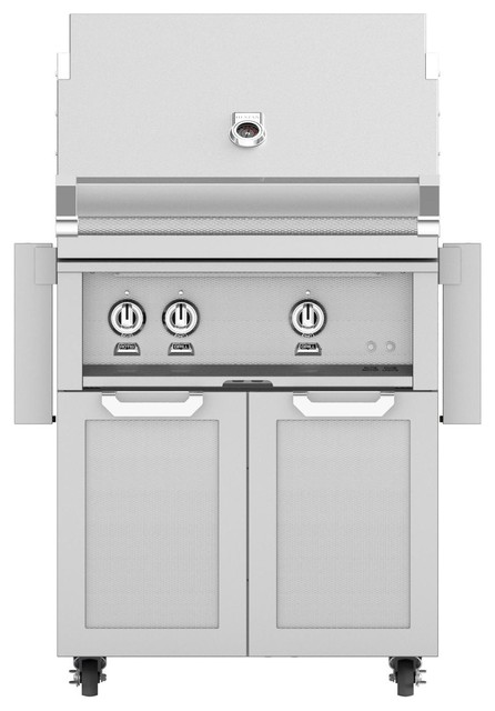 Grill With Double Door Cart And All Infrared Burners, Steeletto, Propane, 30.