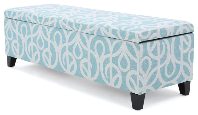 Clor Chic And Modern Storage Ottoman, Azure And White Pattern Contemporary  Footstools And