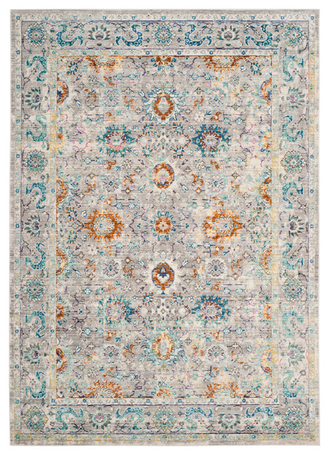 Karine Vintage Inspired Rug, Grey and Multicoloured, 91x152 cm