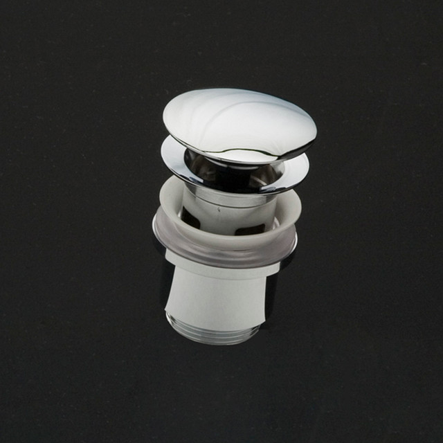 Lacava Oversized Click Clack Style Drain With Round Cover And Overflow Holes
