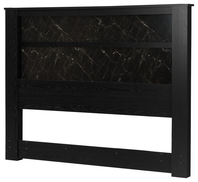 South Shore Gloria King Headboard With Lights, Black Oak And Black Marble.
