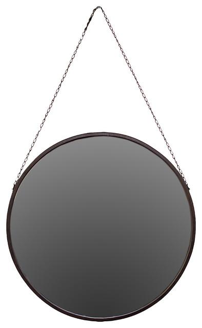 round circle metal frame mirror chain link hanger design wall art decor transitional wall