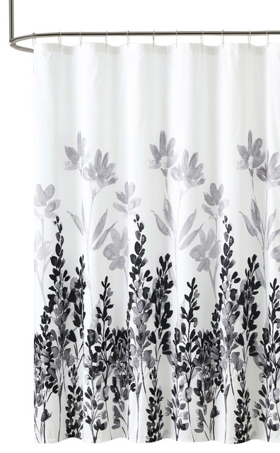 Mirage Black White Embossed Fabric Shower Curtain, Floral Motif  Contemporary Shower Curtains