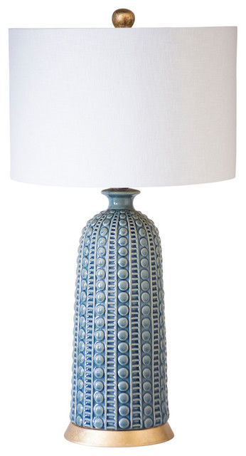 "Melrose Table Lamp, Blue, 30""h."