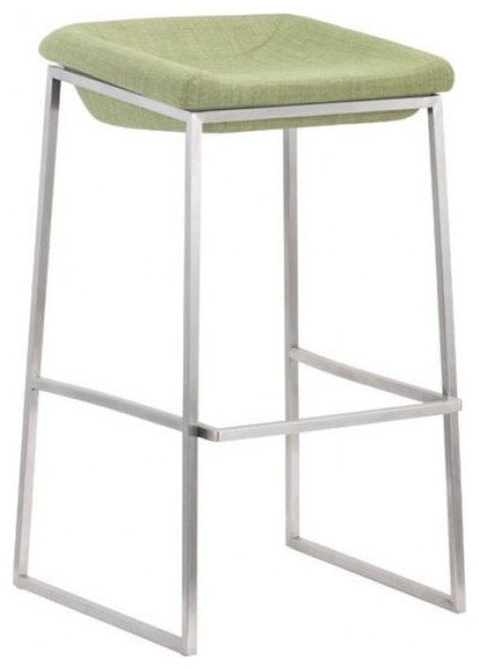 Lids Stainless Steel Bar Stools, Set Of 2, Green Contemporary Bar Stools