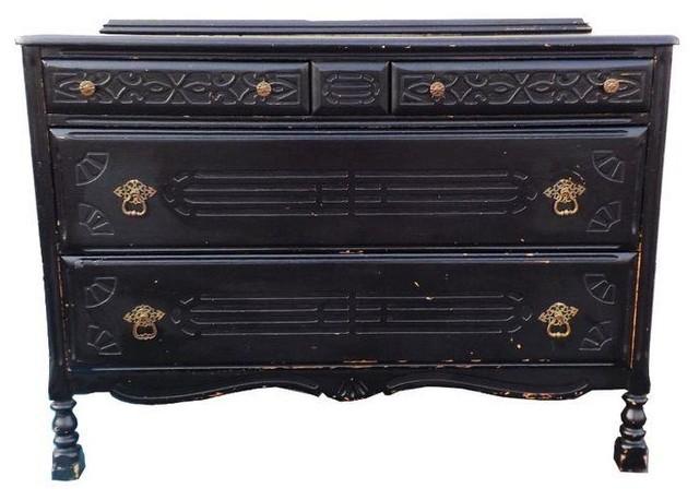 vintage black art deco wood distressed dresser dressers
