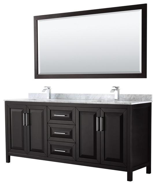 Daria 80 Dark Espresso Double Vanity, Carrara Top, Square Sinks, 70mirror.