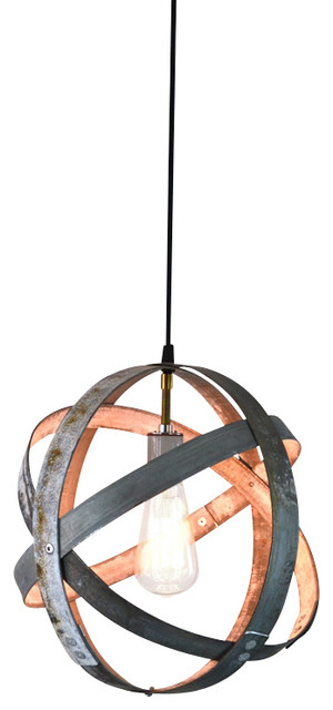 Atom Globe Wine Barrel Ring Lantern - Industrial - Pendant ...