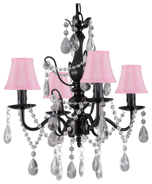 Wrought Iron And Crystal 4 Light Black Chandelier Pendant Fixture With Shades