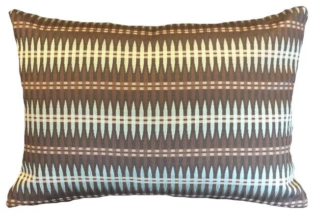Brown And Aqua Large Stitch Pattern Nina Campbell Decorative Lumbar Pillow Cover Contemporary Decorative Pillows By Pillows By Dezign Llc