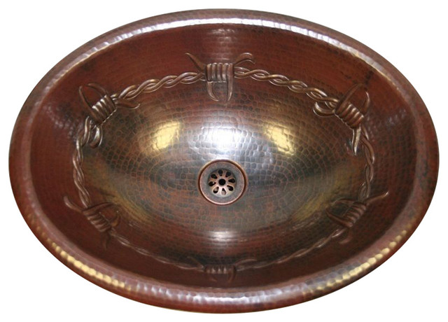 """19"""" Oval Copper Bathroom Sink With Barbed Wire Design With Daisy Drain."""