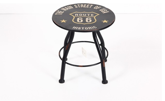 Round Antique Route 66 Metal Stool Accent And Garden