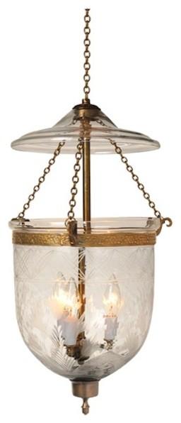 Tulip Etching Hundi Gl Bell Jar Lantern 7 D Antique Br