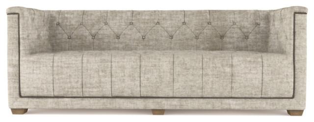 Hudson 7' Crushed Velvet Sofa, Oyster