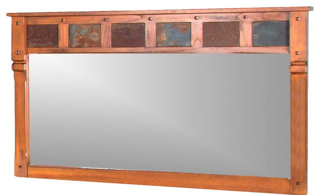 Sunny Designs Sedona Mirror, Rustic Oak - Southwestern - Wall Mirrors - by Homesquare