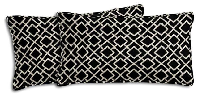 black and cream geometric outdoor lumbar pillow set cushionsand