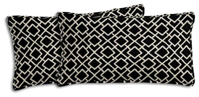 Black And Cream Geometric Outdoor Lumbar Pillow Set Contemporary