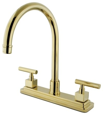 "Kingston Brass Claremont Double Handle 8"" Kitchen Faucet, Polished Brass"