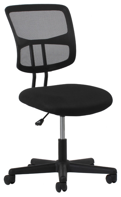 Essentials By Ofm Swivel Mesh Armless Task Chair, Black.