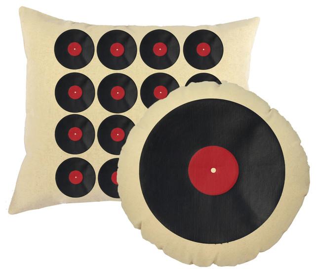 Vinyl Records Throw Pillows Natural Round Rectangle Cushions.