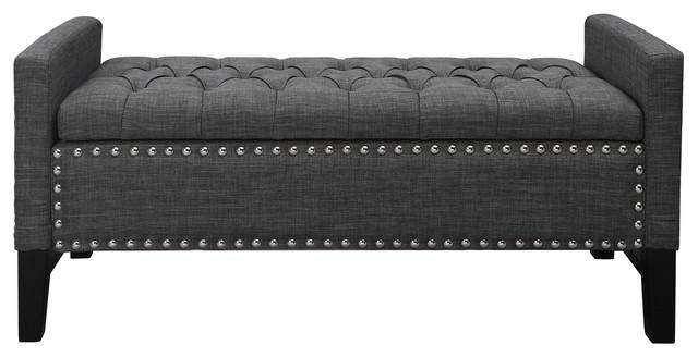 Hawthorne Collection Storage Bench in Dark Gray
