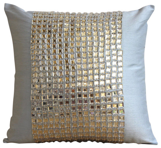 Silver Rhinestones And Crystals 14x14 Art Silk Light Blue Cushion Covers, Bling