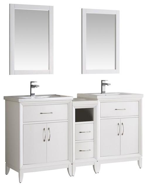 Fresca cambridge 84 antique coffee double sink - Antique white double sink bathroom vanities ...