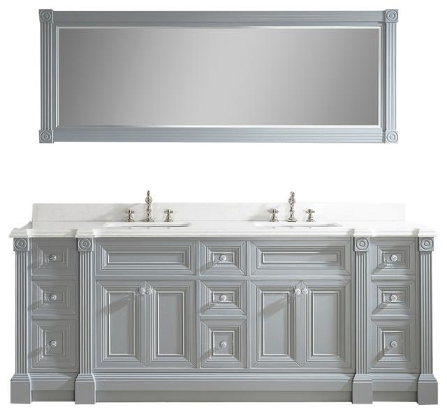 "Art Bathe Avenue 84"" Vanity Set in Solid Surface Quartz Top, Oxford Gray"