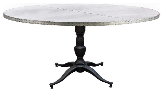 Francesca zinc top round dining table industrial for Round dining table 52 inch