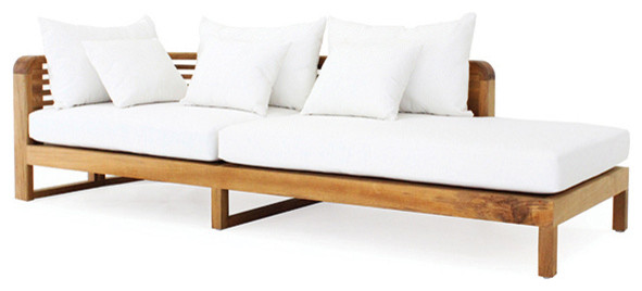 Hamilton Chaise Lounge Arm Left With Canvas Natural Cushions.