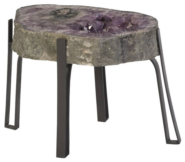 Peachy 24 Long Coffee Table Large Natural Amethyst Crystal Organic Metal Base Home Interior And Landscaping Ferensignezvosmurscom