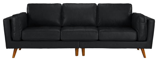 Mid Century Real Leather Sofa 3 Seater Tufted Loose Seat Cushions, Black.