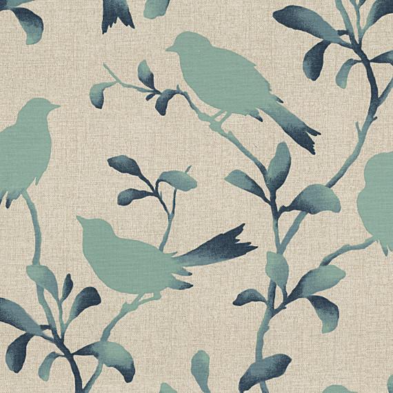 Aqua Bird Silhouette Cotton Fabric Contemporary Drapery Fabric