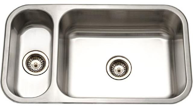 Houzer Ehd-3118-1 Elite Series Undermount Stainless Steel 70/30 Double Bowl Sink.